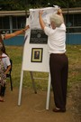A dedicatory plaque was unveiled by Cathy Miller, of the Peninsula Rotary Club.